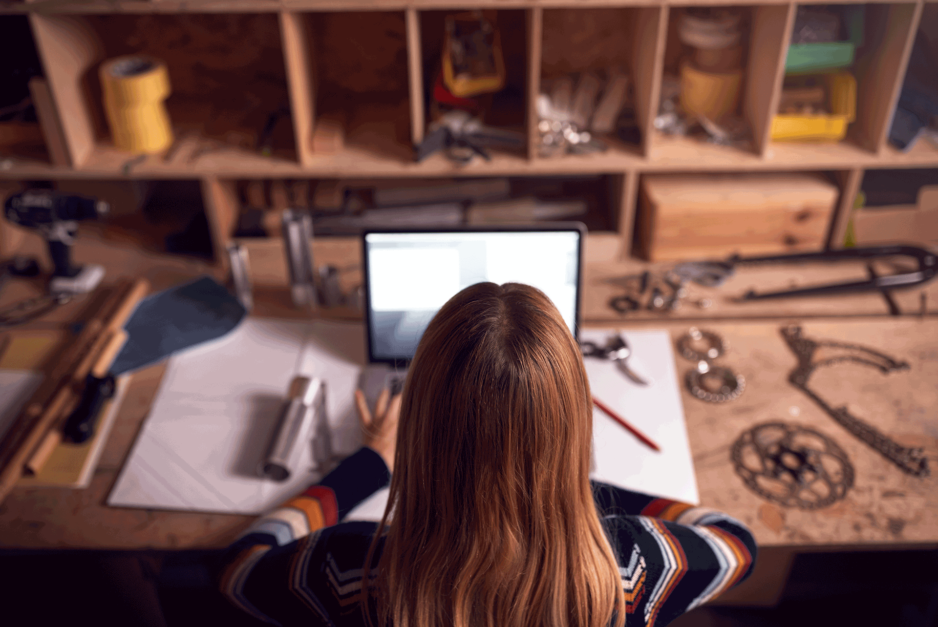 female-business-owner-working-late