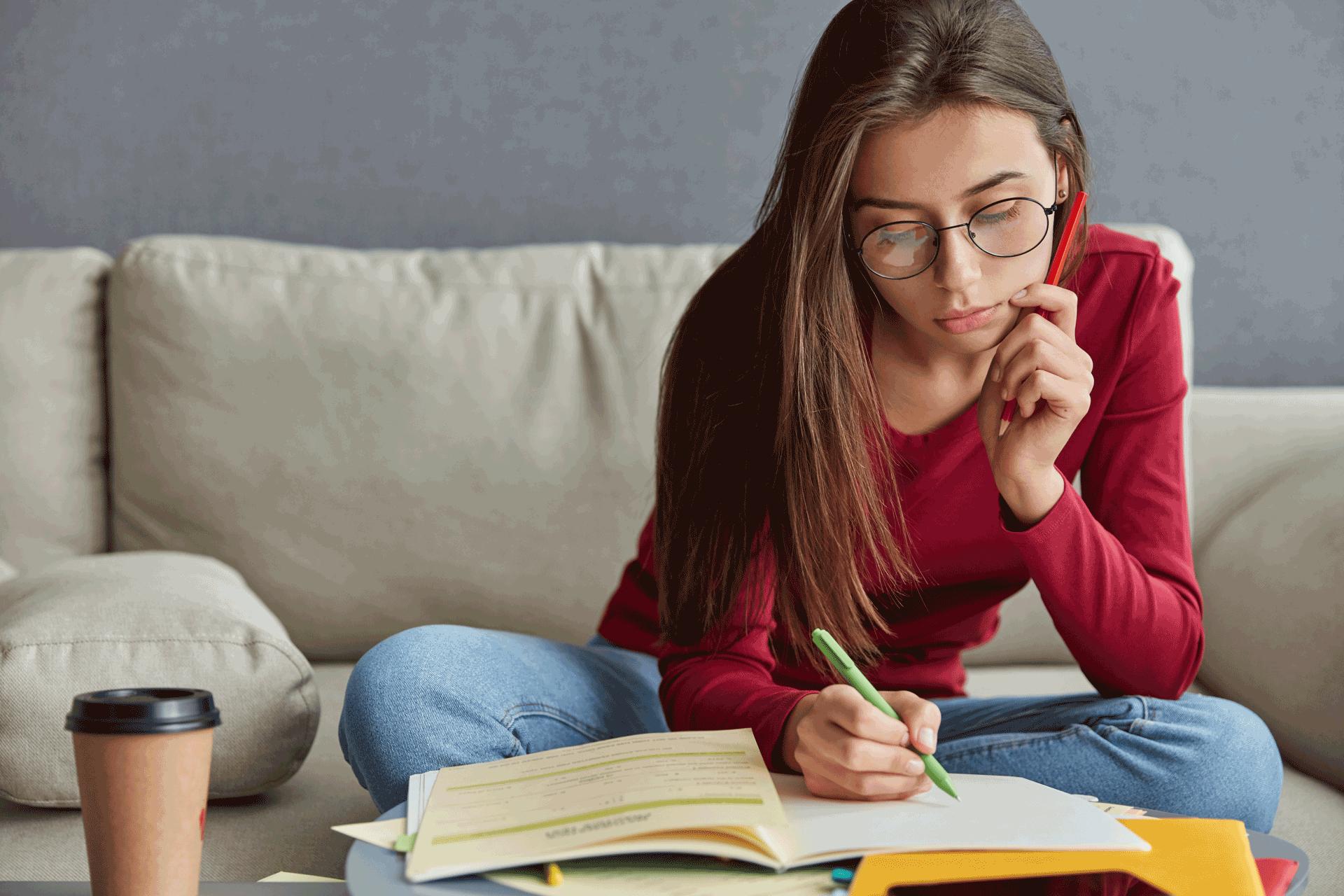 young women using her writing skills
